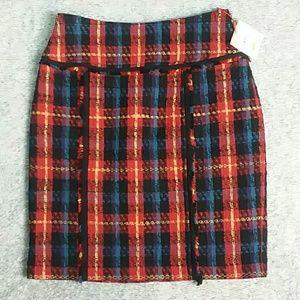 NWT Ann Klein Red Plaid Skirt/ size 2